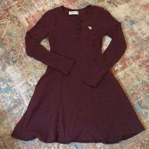 Abercrombie Kids knit burgundy skater dress.